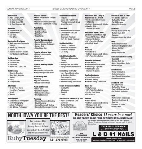 2017 Readers Choice By Globe Gazette Issuu