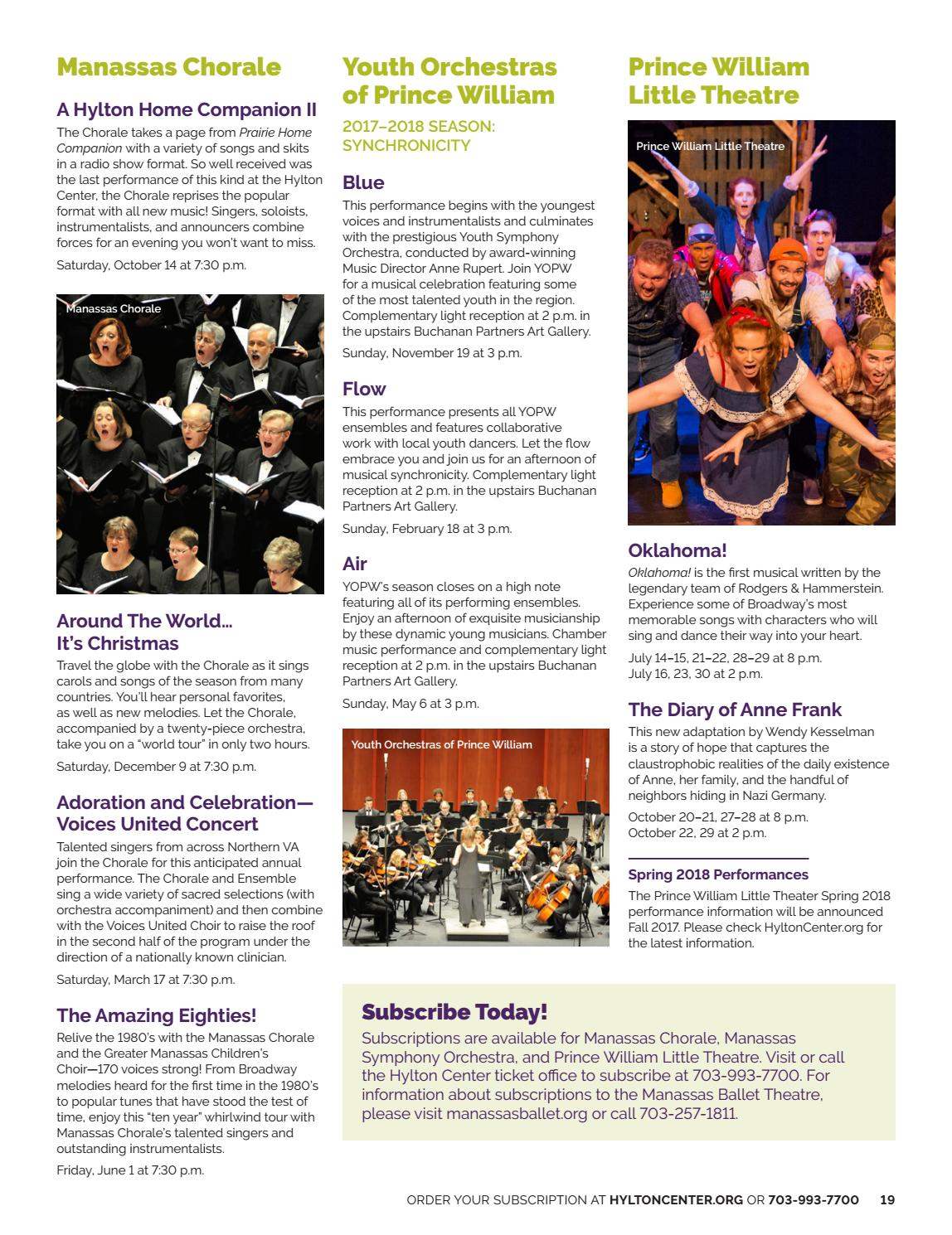 Celebrating Voices October 30th Your >> Hylton Center 2017 2018 Season Brochure By Hylton Performing Arts