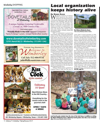 Welcome to wimberley springsummer 2017 by melissa maxwell ball page 16 local organization keeps history alive publicscrutiny Choice Image