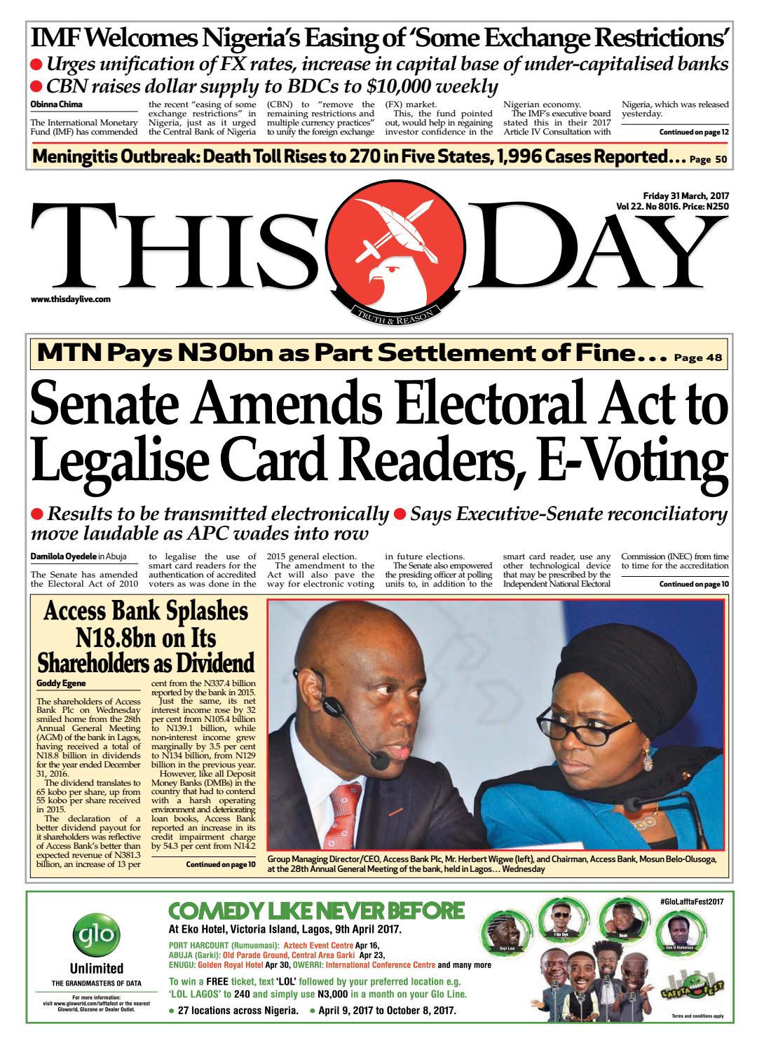 c0ab70278d8 Friday 31st March 2017 by THISDAY Newspapers Ltd - issuu