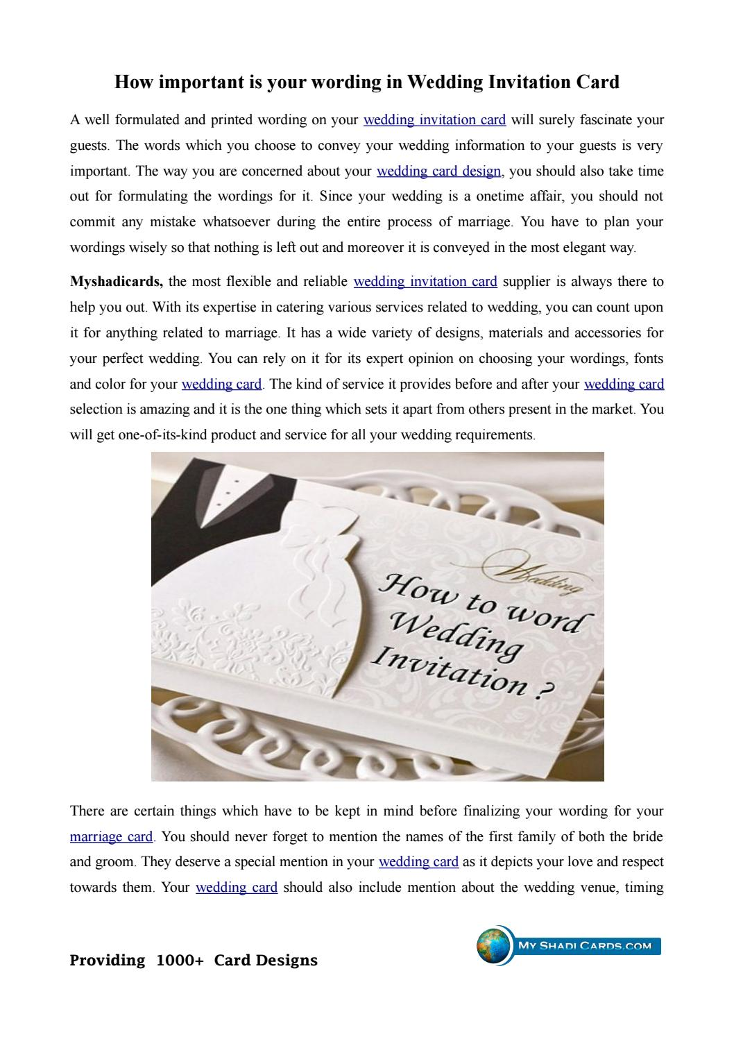 what information is a must in a wedding invitation card by