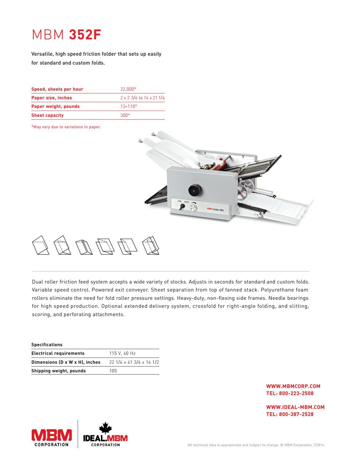 MBM 352F Professional Series Tabletop Folder - Printfinish com by