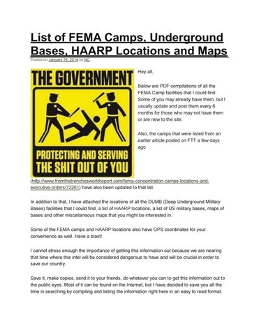 Fema Camps In Oregon Map.List Of Fema Camps Underground Bases Haarp Locations And Maps By