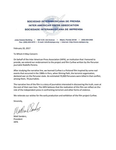 Iapa Endorsement Letter Curfew By Rodolfo Pereira - Issuu