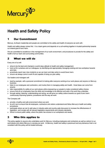 Health And Safety Policy By Mercury  Issuu