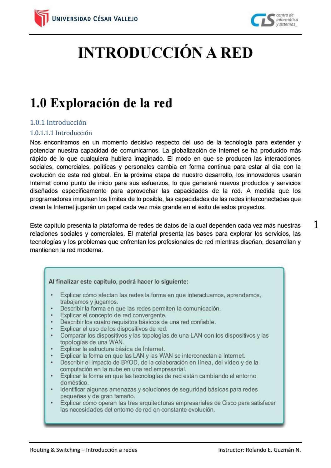 Ccna V5 Módulo 1 Cap1 Exploración De La Red By Rolando