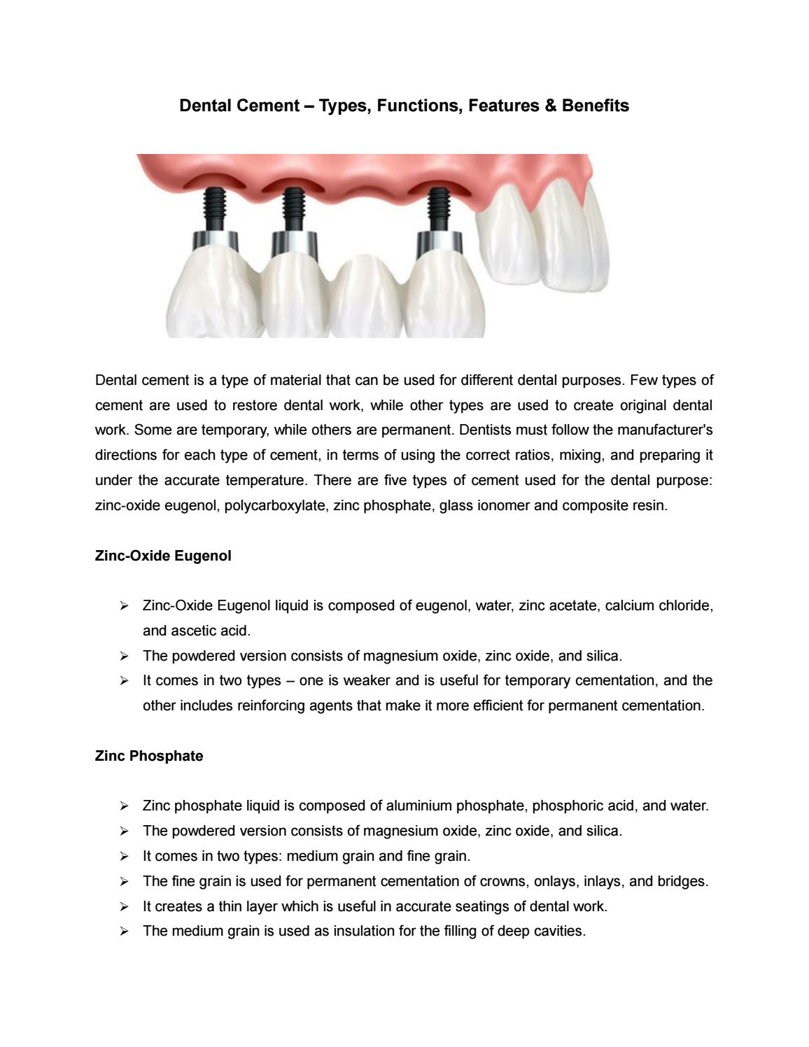 different types of dental cements