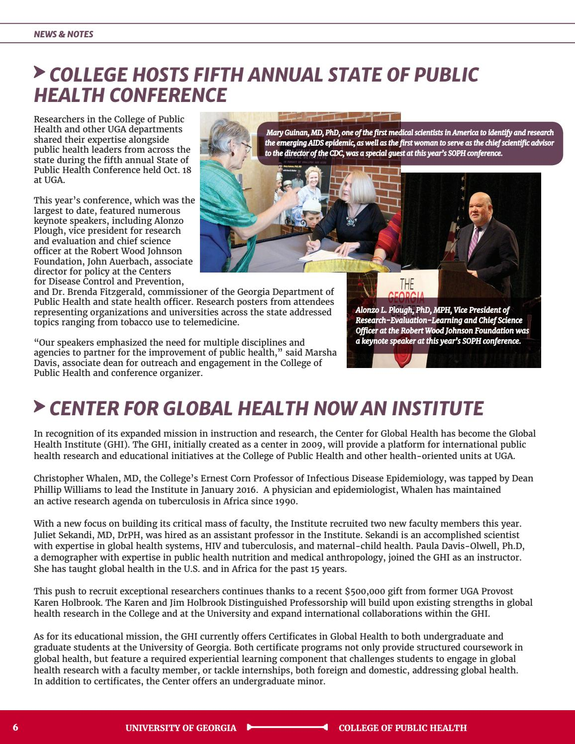 Uga Public Health Magazine 2017 Issue By University Of Georgia