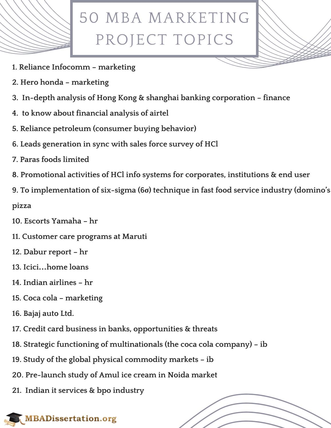 service marketing project topics