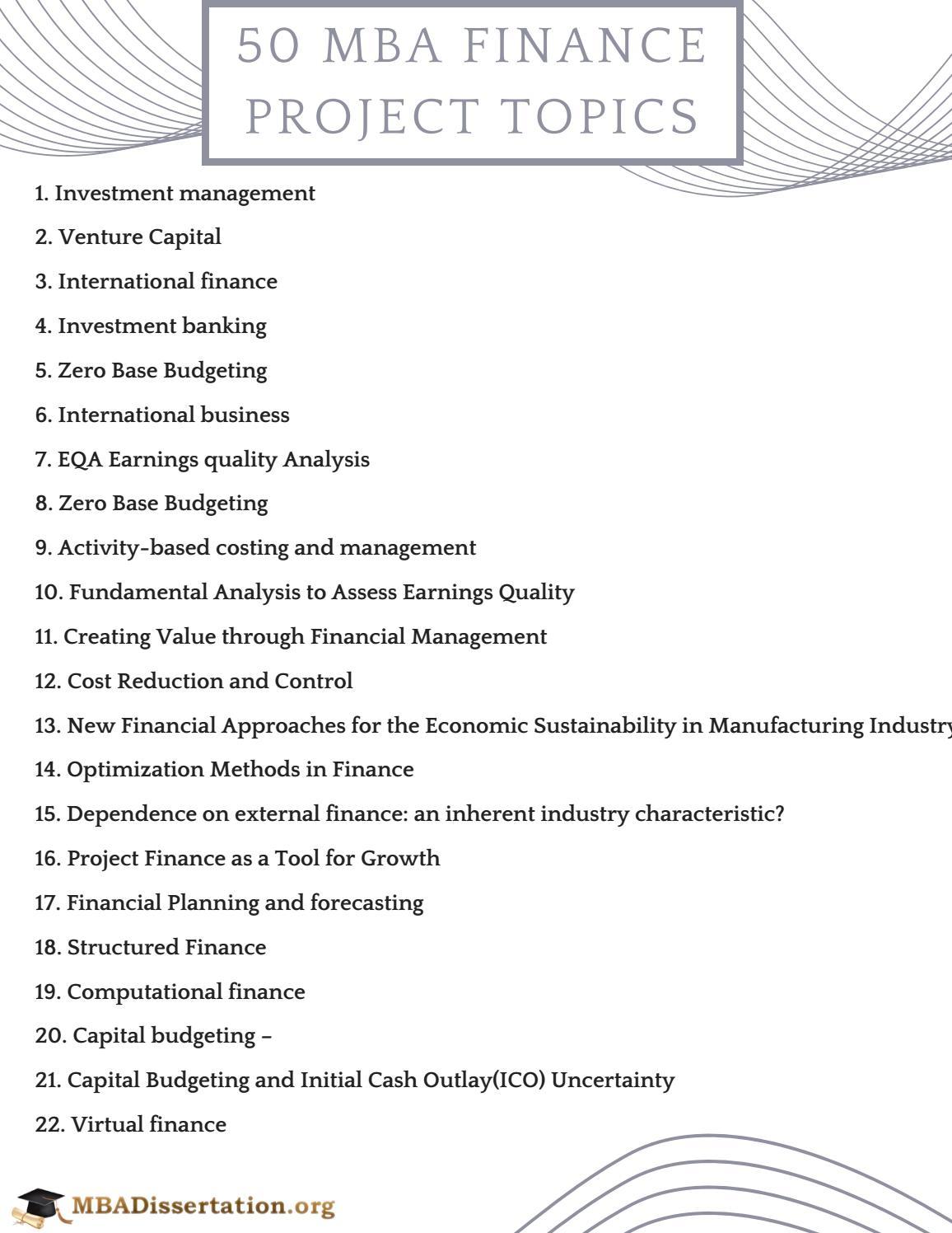 MBA Finance Project Topics by MBADissertationTopics - issuu