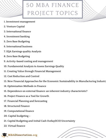 MBA Finance Project Topics by MBADissertationTopics - issuu