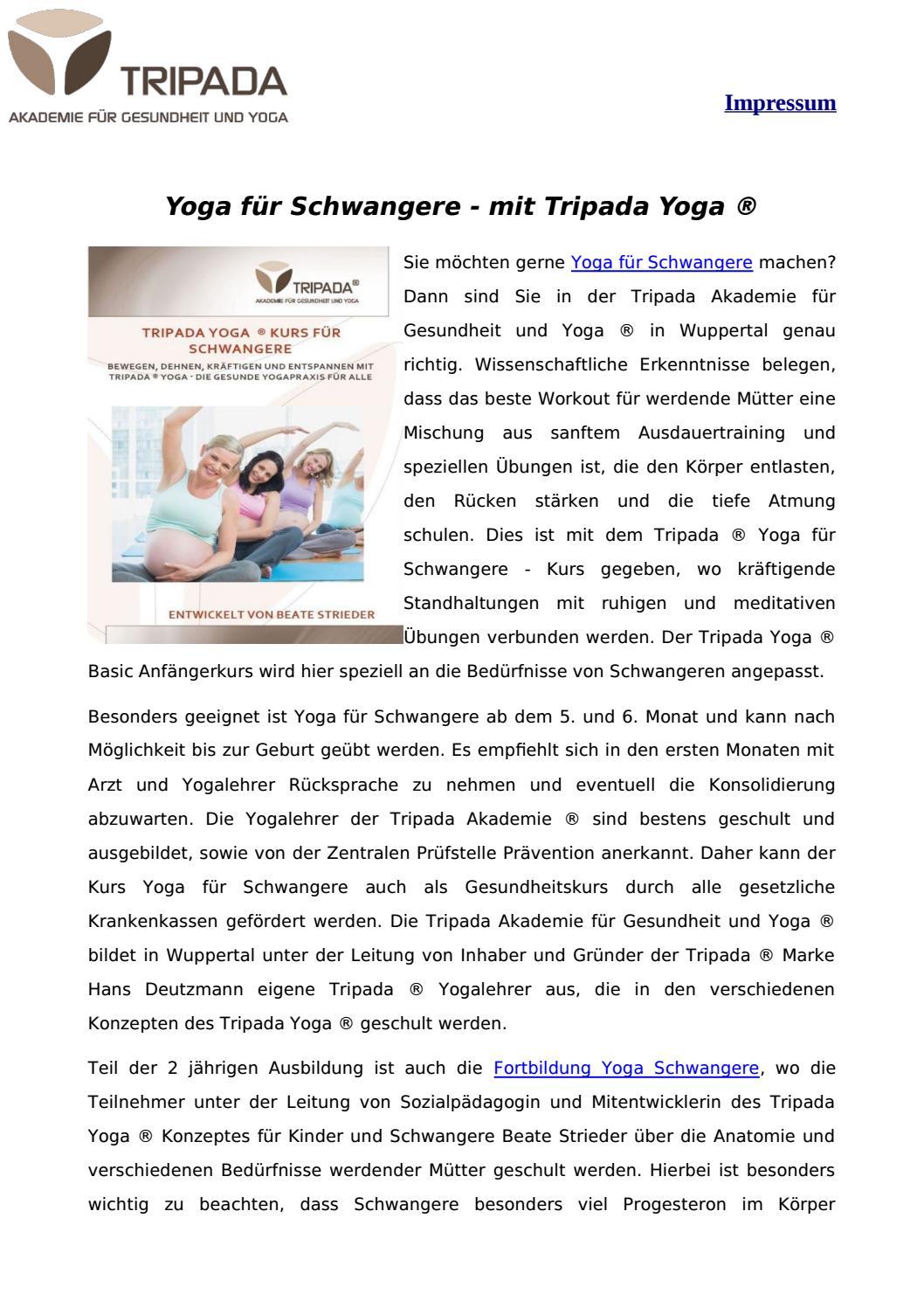 Yoga Fur Schwangere Mit Tripada Yoga By Tripadabocholt Issuu