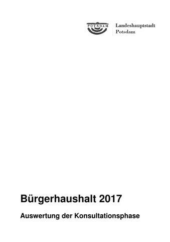 Auswertung Konsultation Bürgerhaushalt Potsdam 2017 by ...