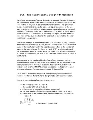 DOE Two Factor Factorial Design With Replication Or Way Is The Simplest And Has More Levels For