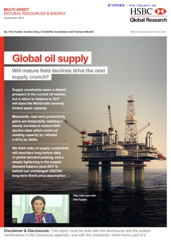 Global oil supply peak oil report hsbc global research fustier gray