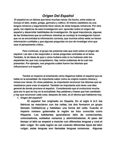 Origen Del Español 7 5 By Diego Alejos Passarelli Issuu