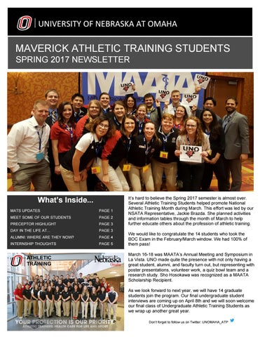 Spring 2017 MATS Newsletter by UNO Athletic Training Program