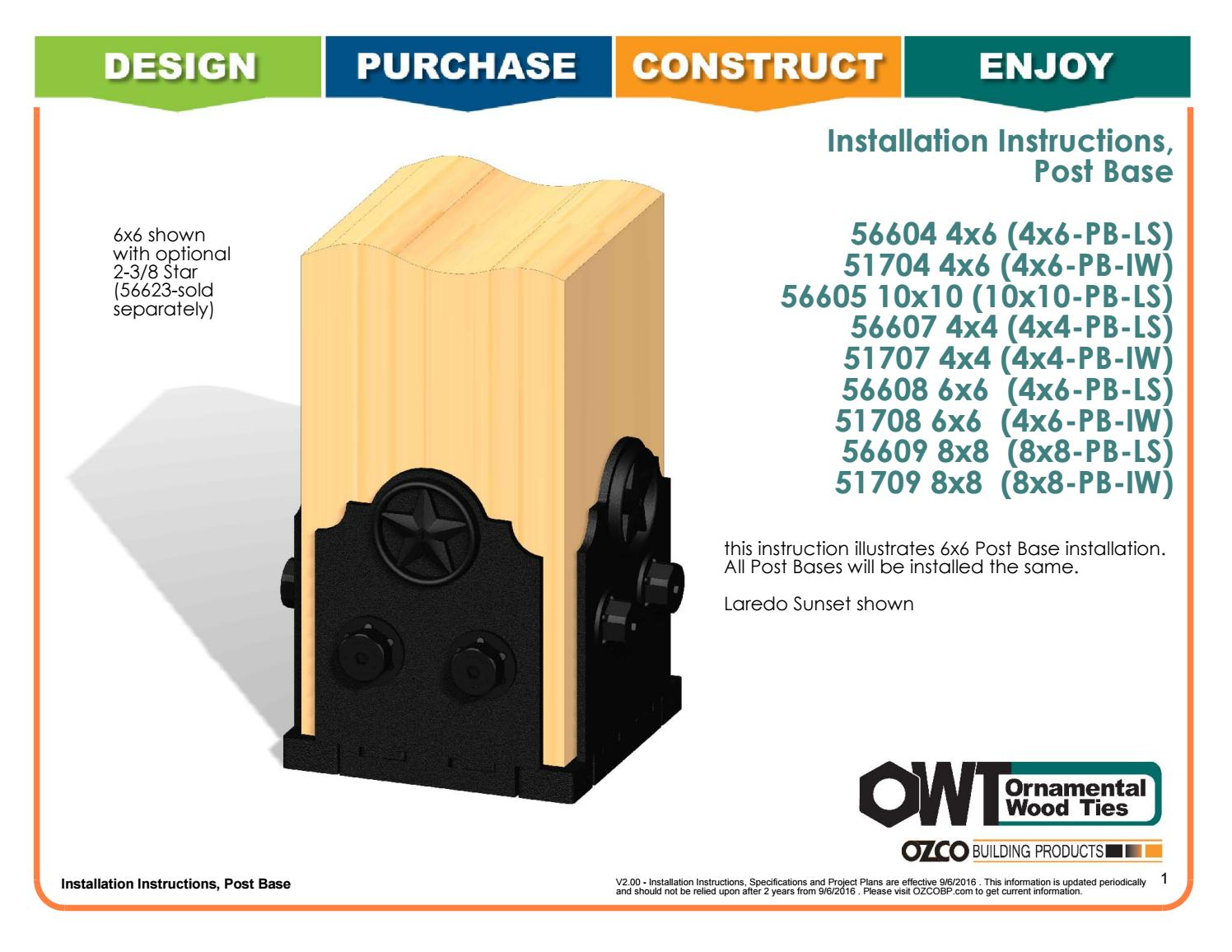 Installation Instructions Large Small Post Bases By Ozco Building Products Issuu