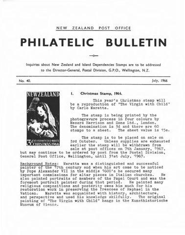 Series 3 new zealand philatelic bulletin no 40 1966 july