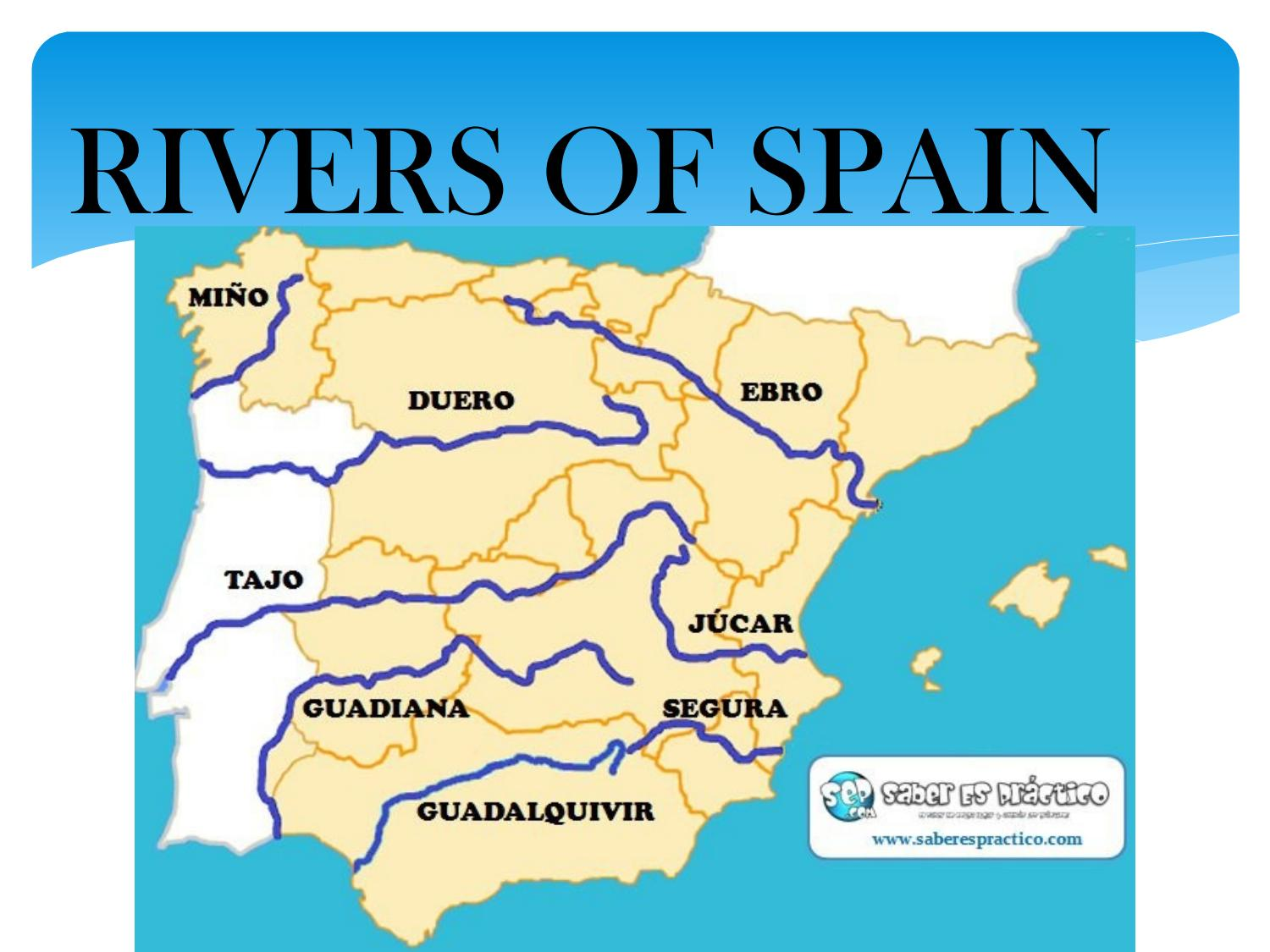 Map Of Spain Rivers Main Rivers Of Spain Map on spain and france map, spain fly fishing trout, spain map with cities,