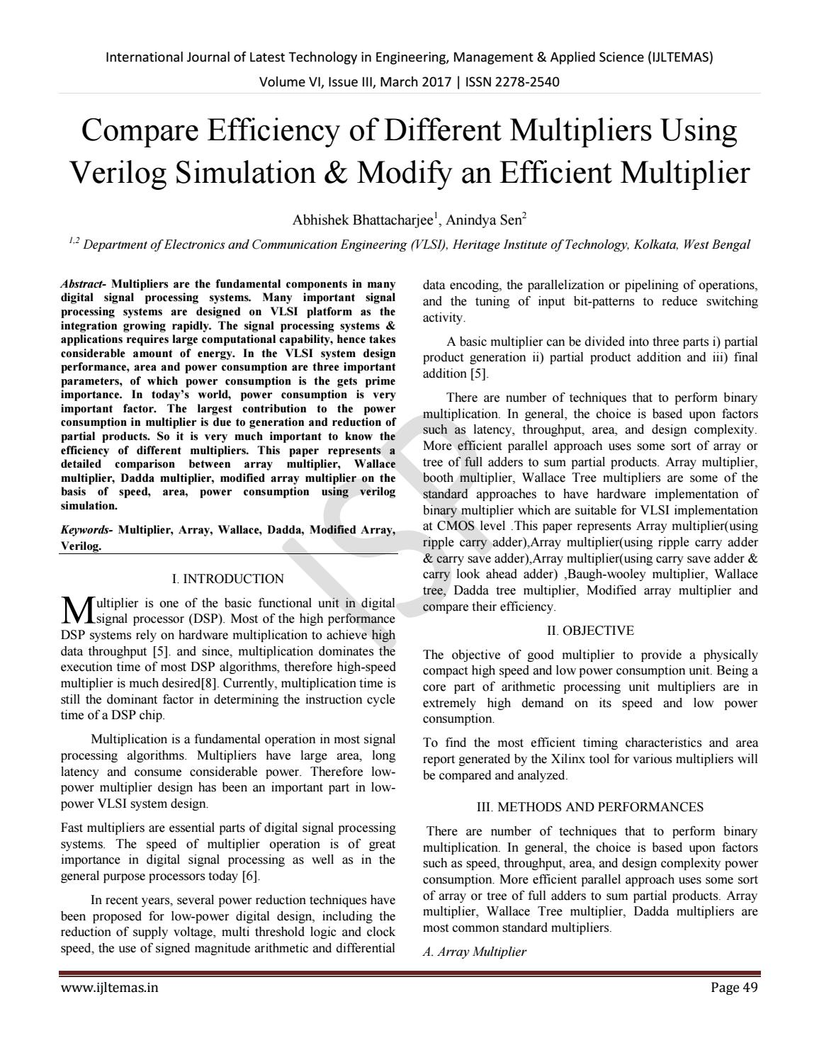 Compare Efficiency of Different Multipliers Using Verilog