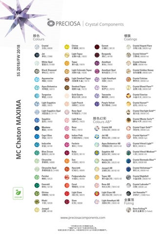 Maxima Colour Chart By Preciosa Crystal Components Issuu
