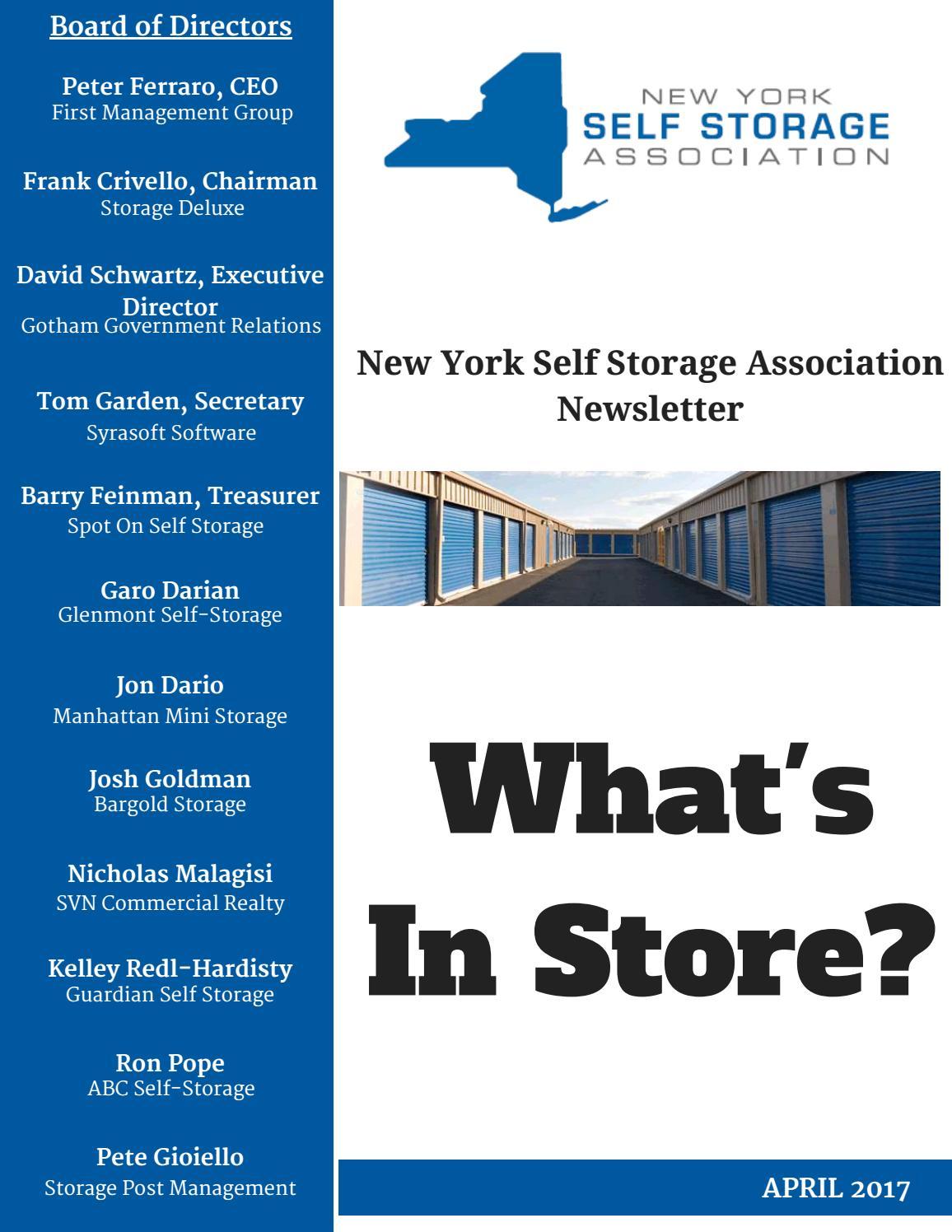 Nyssa April 2017 Newsletter By Ny Self Storage Association