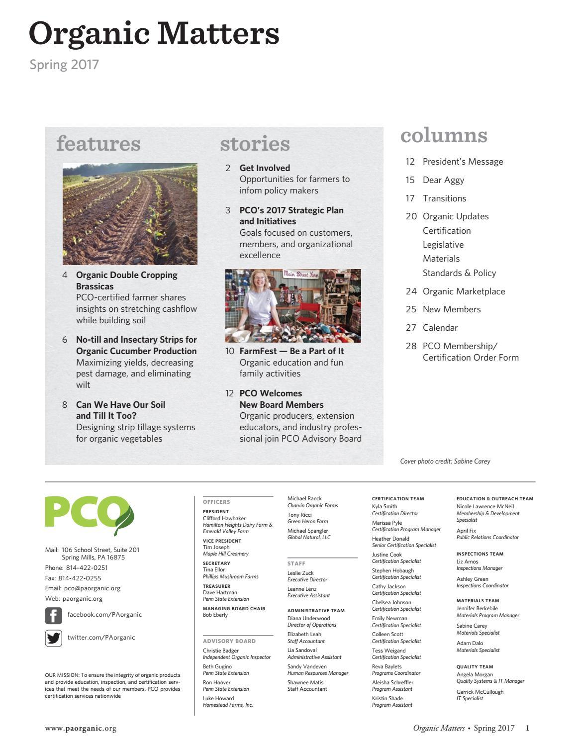 Organic Matters Spring 2017 By Pennsylvania Certified Organic Issuu