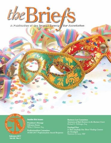 Orange County Bar Association - The Briefs - February 2017