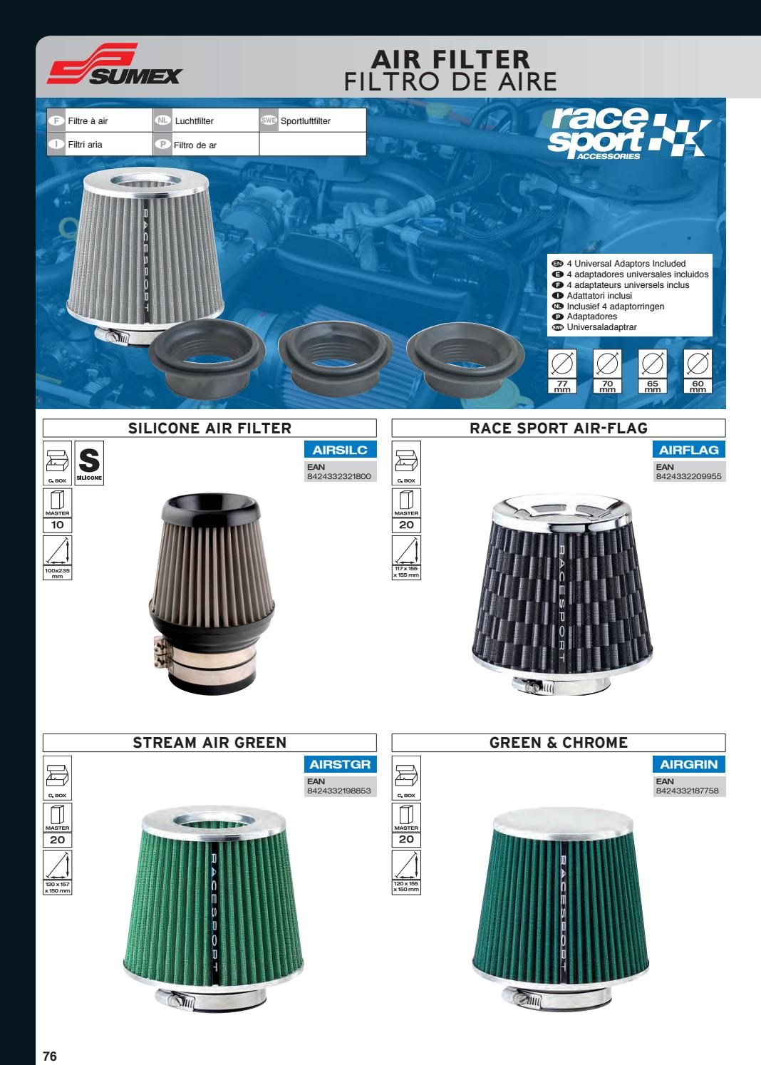 Sumex AIRSTGR Universal Sports Air Filter with Adaptors