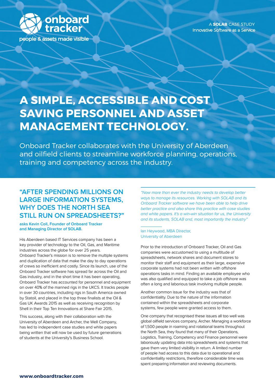 Case Study: Onboard Tracker™, University of Aberdeen