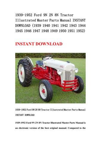 1939 1950 1951 1952 FORD TRACTOR 9N 2N 8N Parts Book