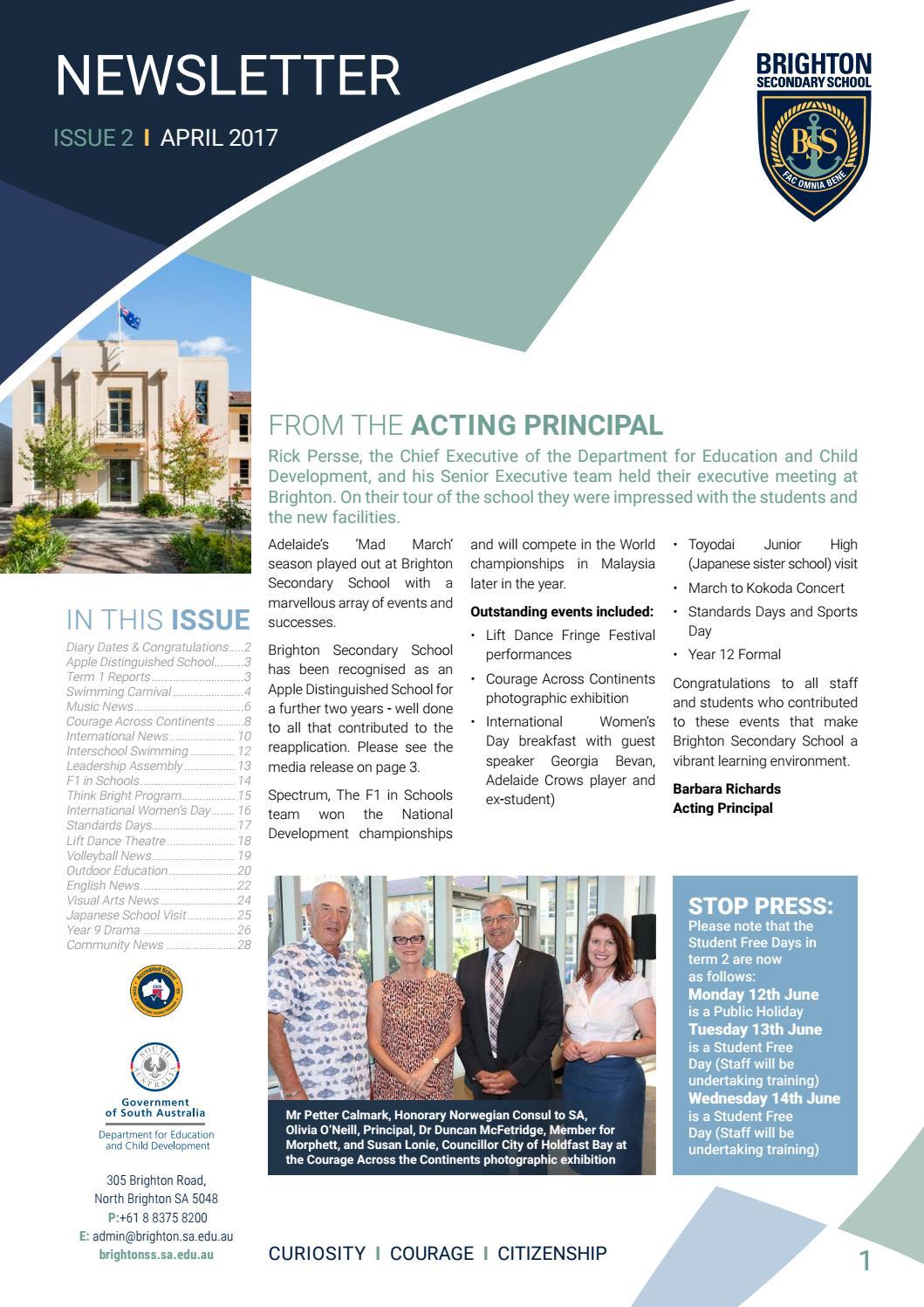 Brighton Secondary School Newsletter April 2017 by Brighton ...