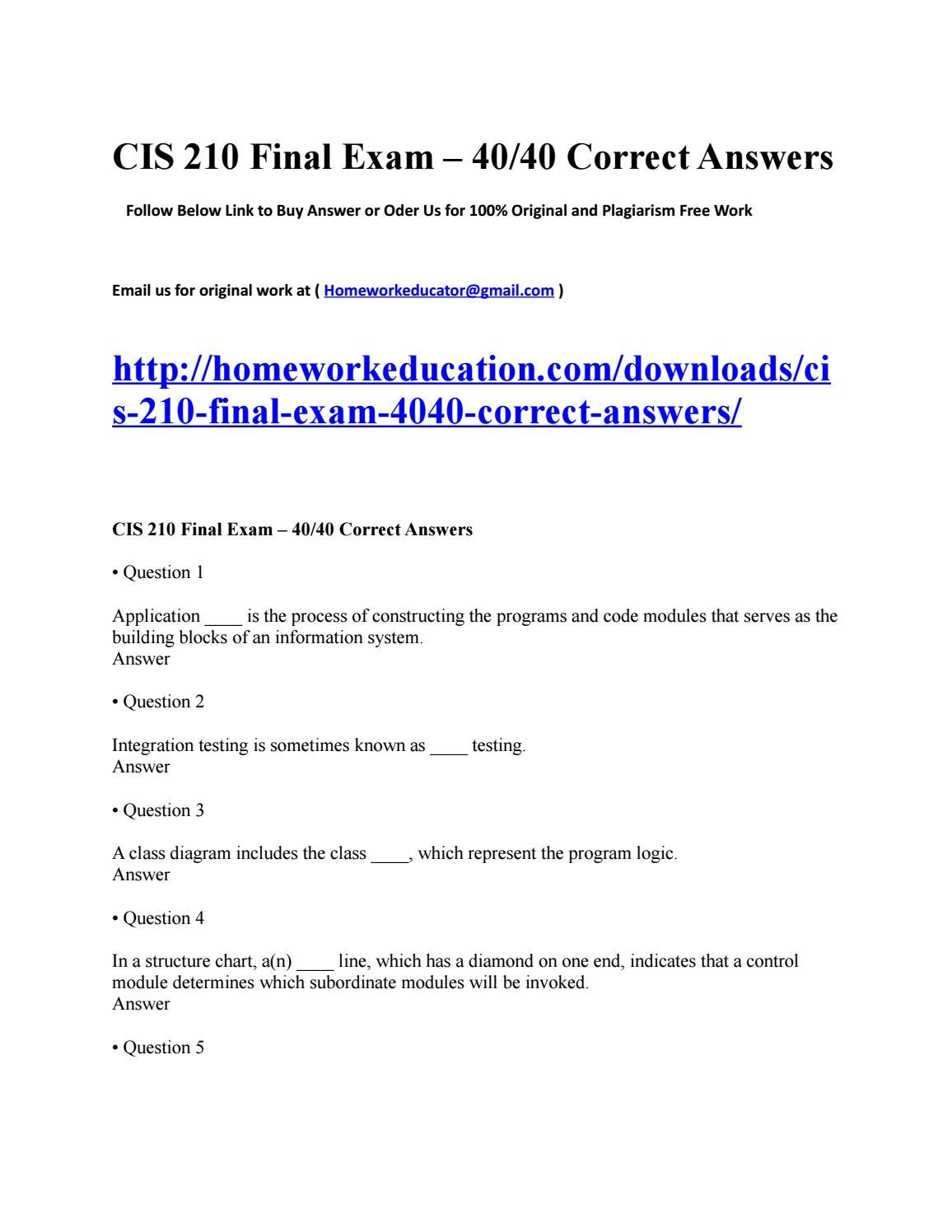 Cis 210 final exam 4040 correct answers by howardfricke issuu ccuart Image collections