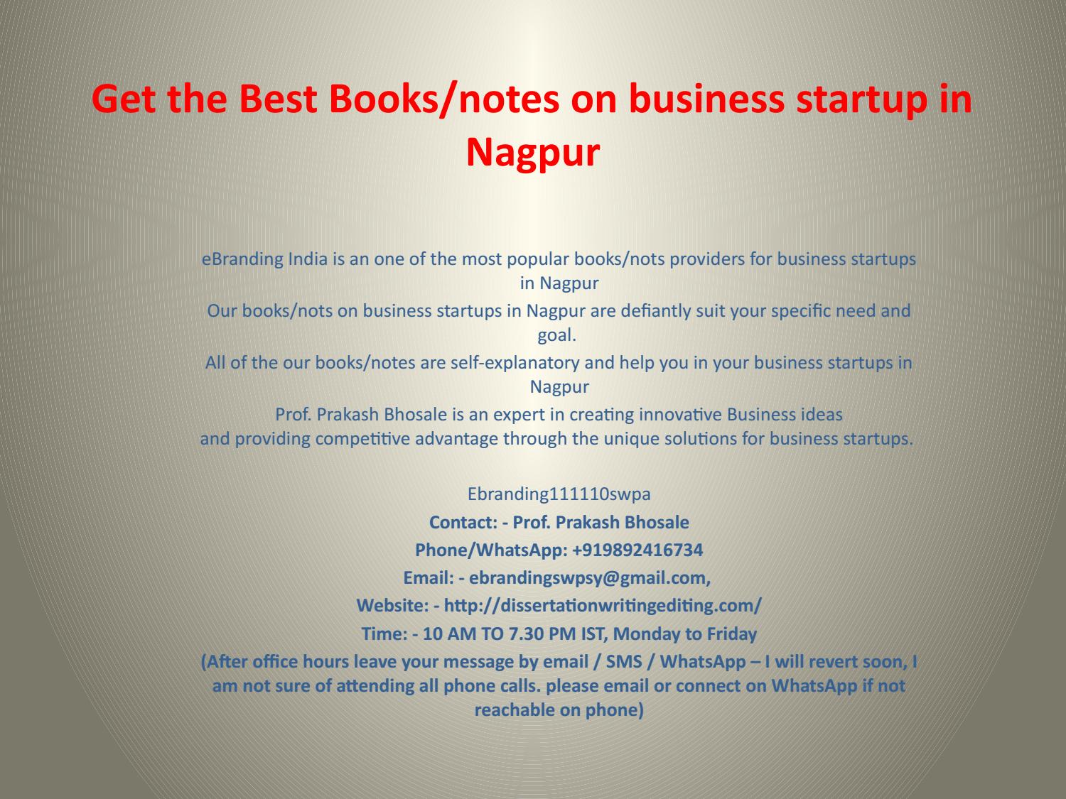 1 Get The Best Books Notes On Business Startup In Nagpur By Prakash