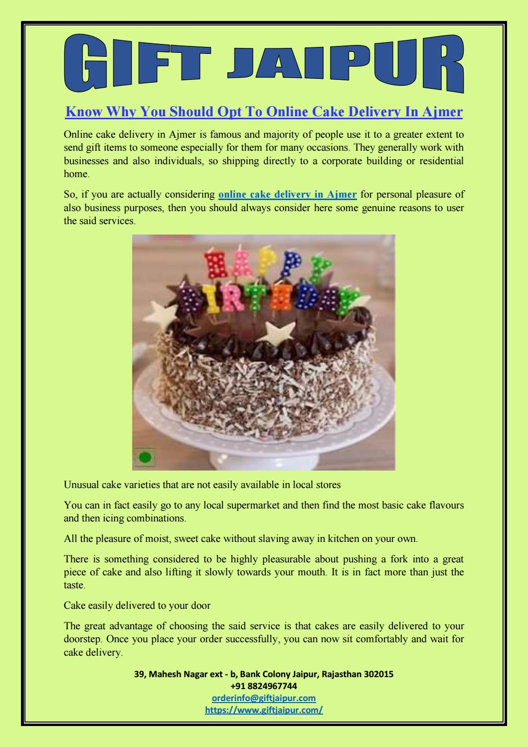 Know Why You Should Opt To Online Cake Delivery In Ajmer By Gift Jaipur