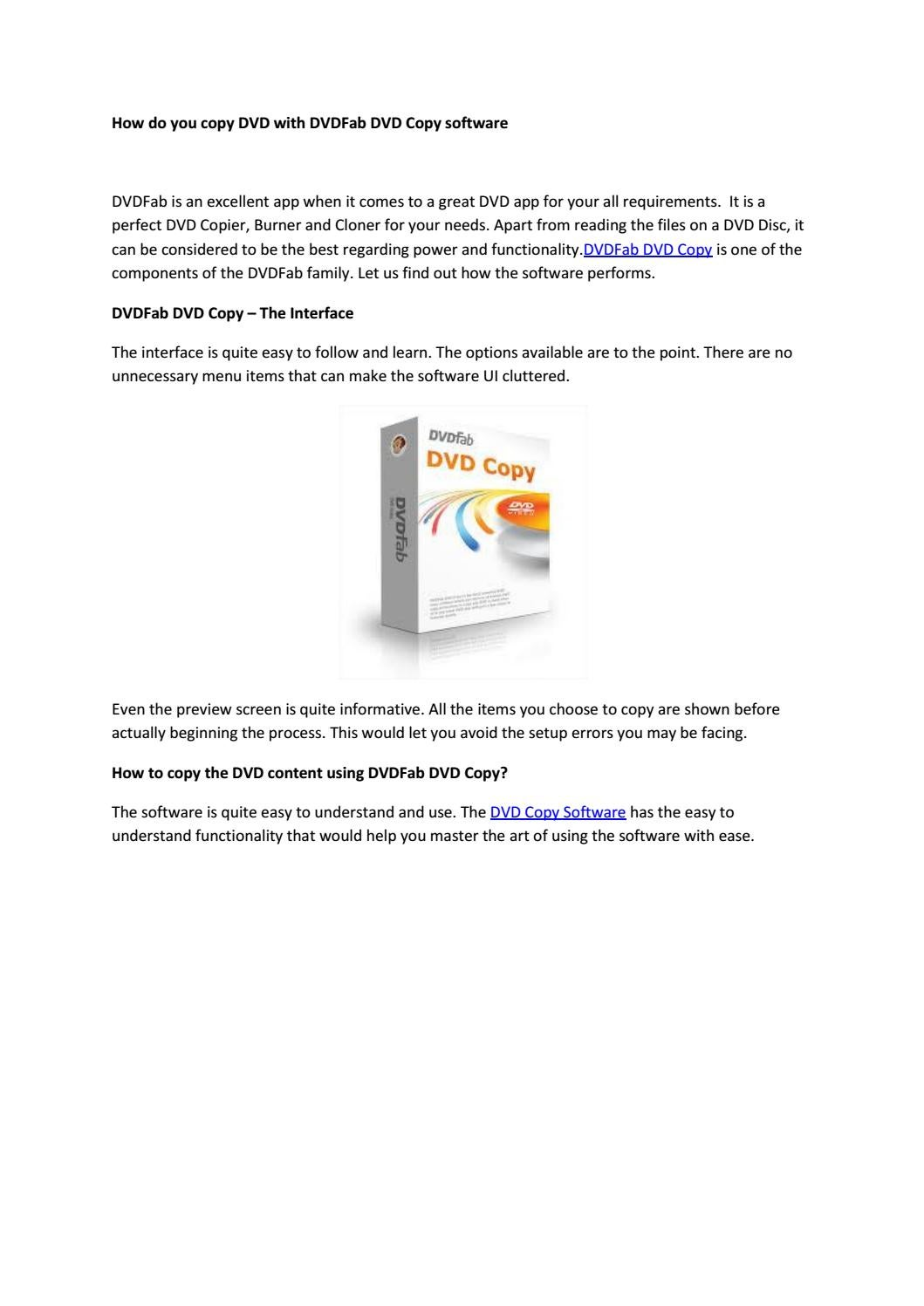 How do you copy dvd with dvdfab dvd copy software by