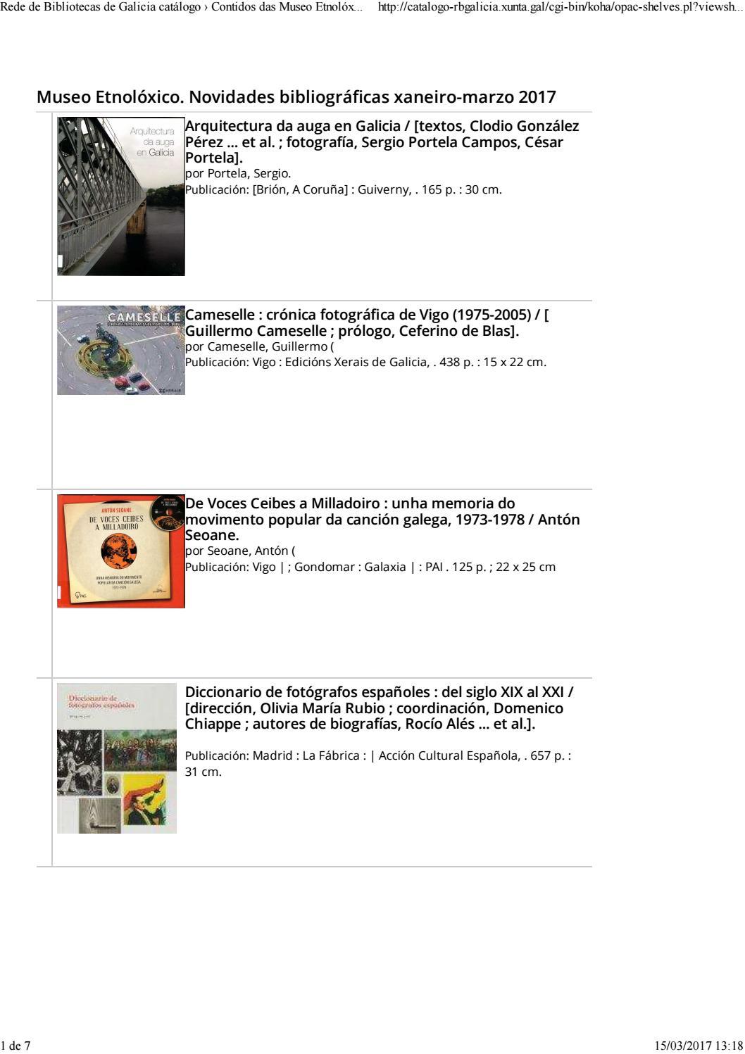 Novidades Bibliogr Ficas Xaneiro Marzo 2017 By Museo Etnol Xico  # Muebles Cuinas Ribadavia