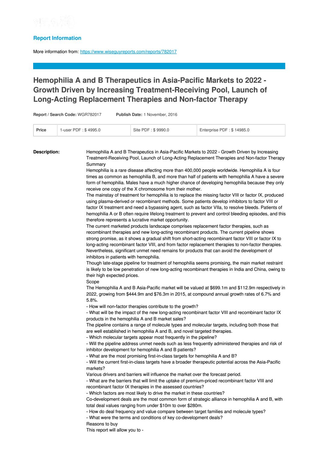 Hemophilia a and b therapeutics in asia pacific markets to