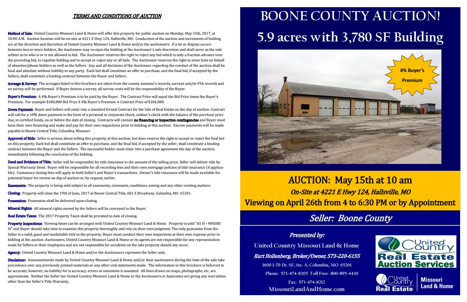 Boone County MO Shop and Land Auction by UC-Commercial & Missouri