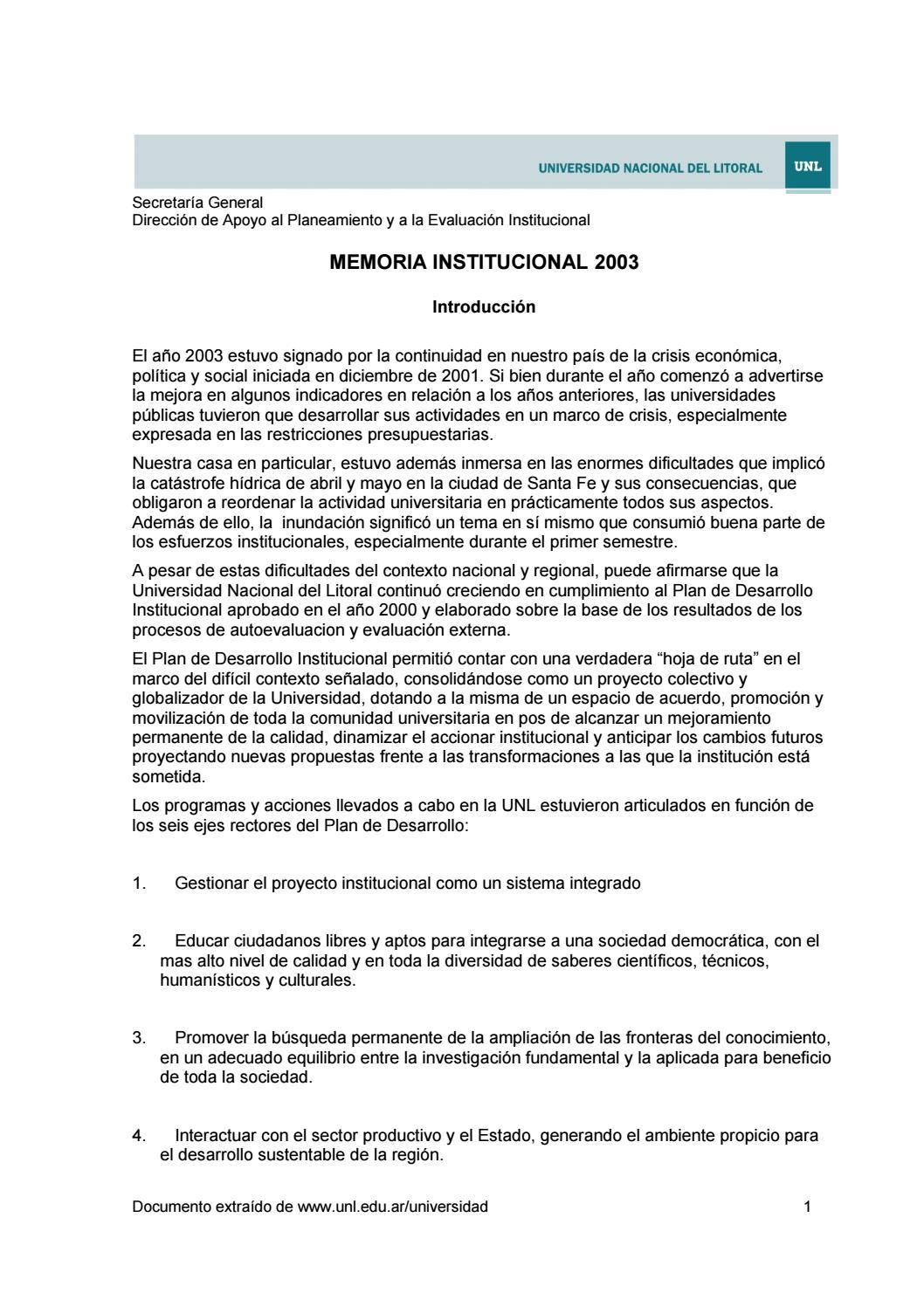 Memoria institucional 2003 by Universidad Nacional del Litoral - issuu
