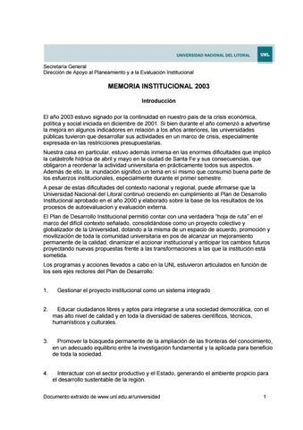 Del Universidad Litoral Institucional 2003 Issuu By Nacional Memoria 76vybfYg