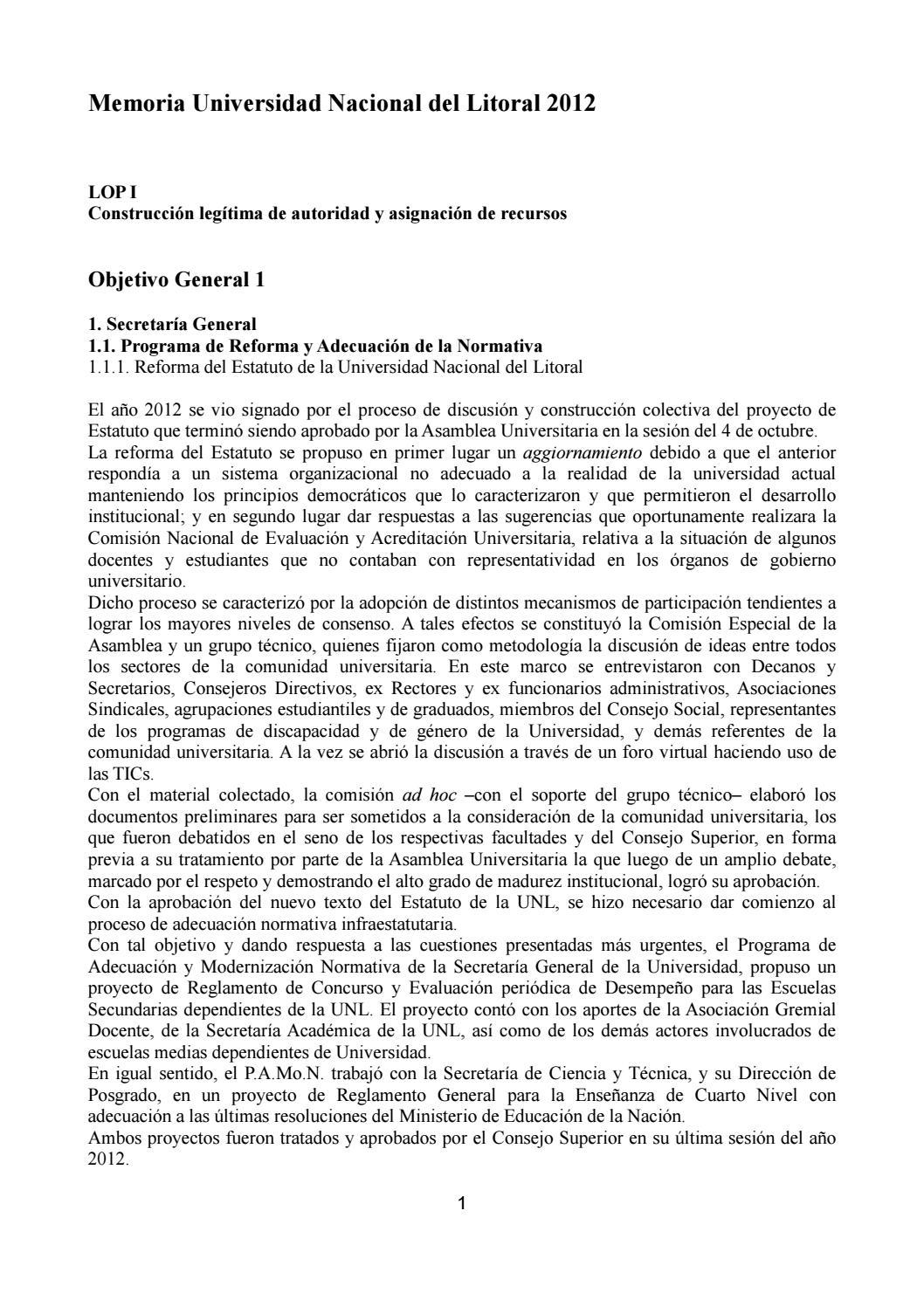 Memoria institucional 2012 by Universidad Nacional del Litoral - issuu