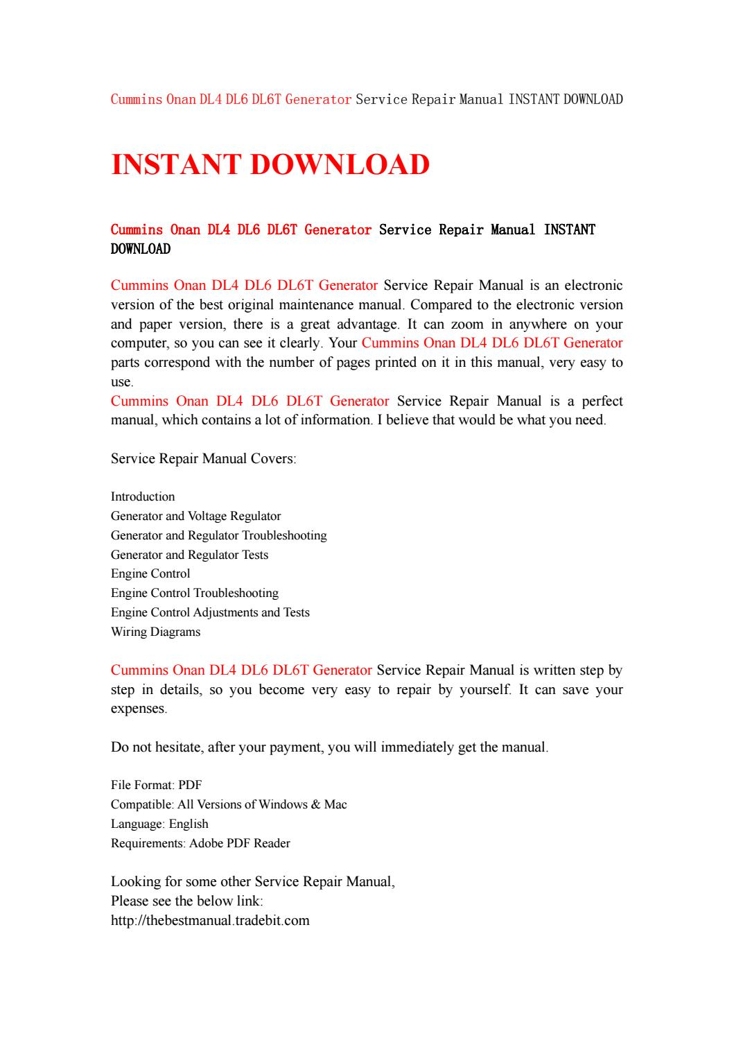Cummins onan dl4 dl6 dl6t generator service repair manual instant