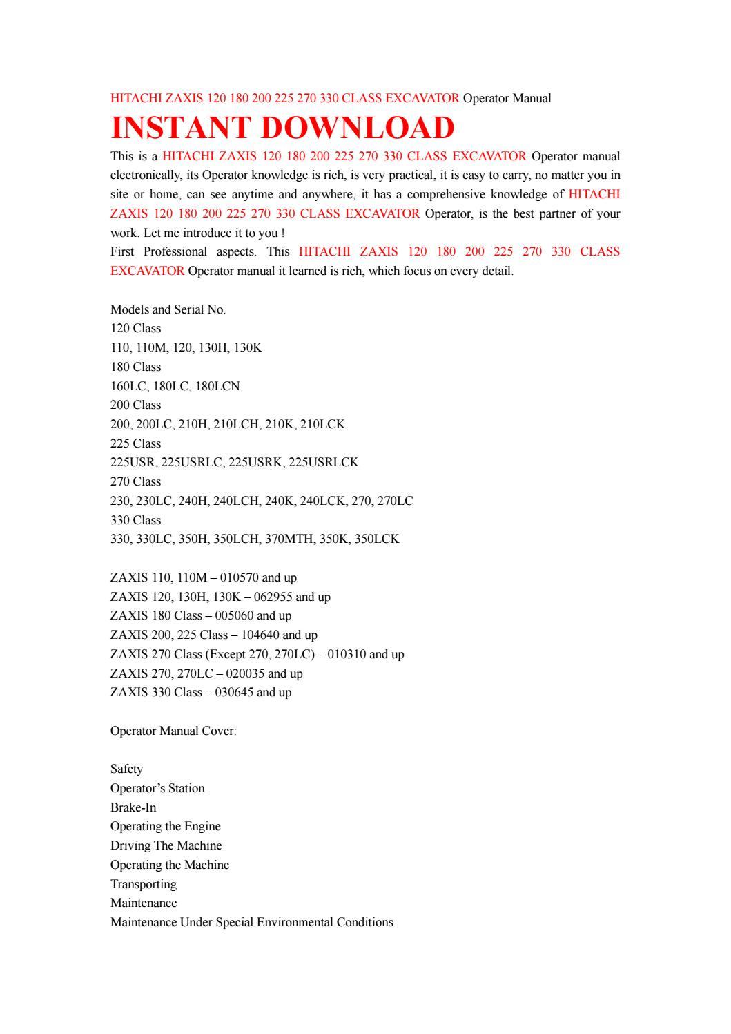 Hitachi zaxis 120 180 200 225 270 330 class excavator operator manual by  ksjefhsnef - issuu