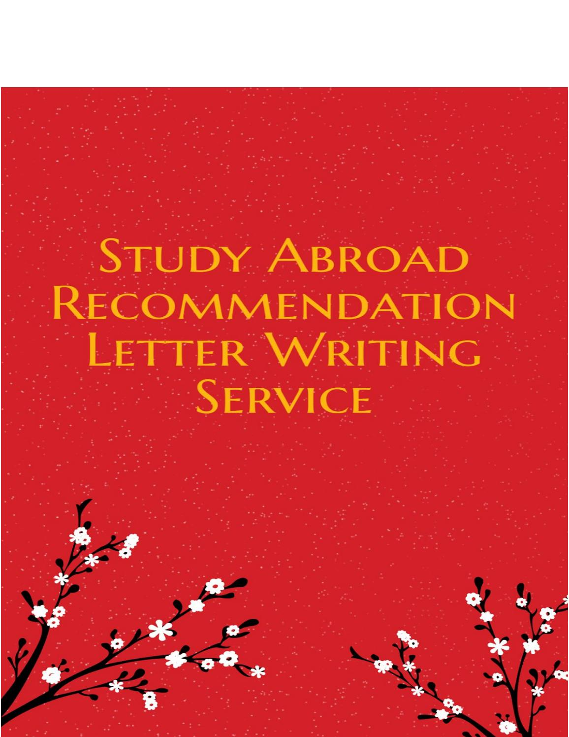 study abroad recommendation letter writing service by