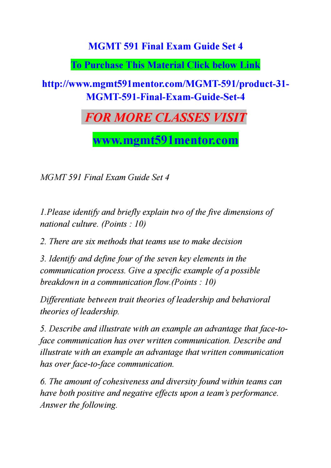 Mgmt 591 final exam guide set 4 by sunny2b - issuu