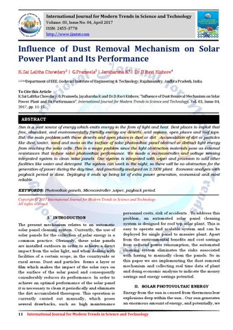 1eef01fd32550 Influence of Dust Removal Mechanism on Solar Power Plant and Its Performance