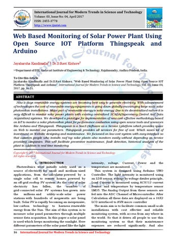 Web Based Monitoring of Solar Power Plant Using Open Source IOT