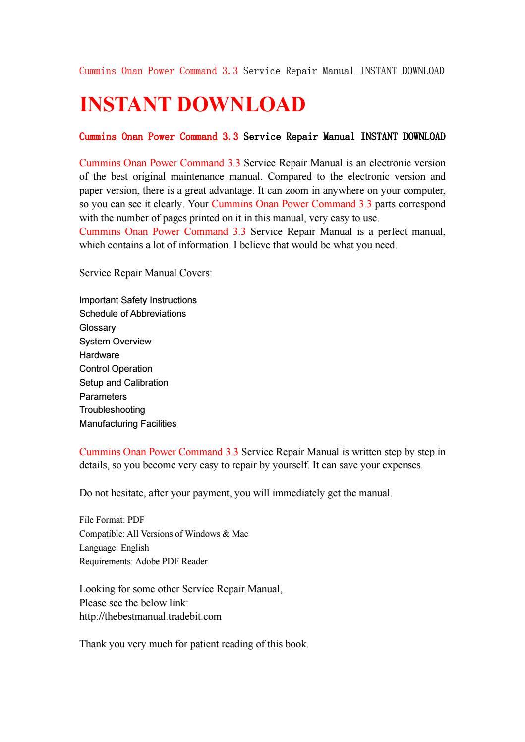Cummins onan power command 3 3 service repair manual instant download by  kfjsjfnsef - issuu